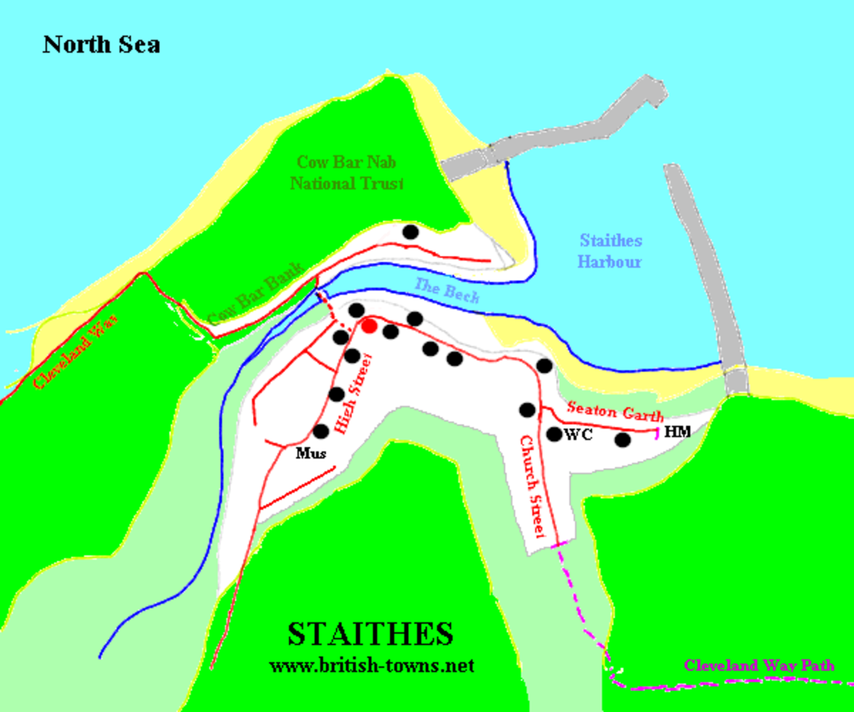 Staithes town map. Once cut off by steep cliffs and poor roads, the only way to get around was by boat or walk long distances.