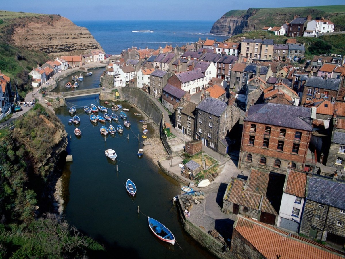 Overhead view of the small harbour of Staithes. This is where young James Cook developed a taste for seafaring, talking to 'old salts'