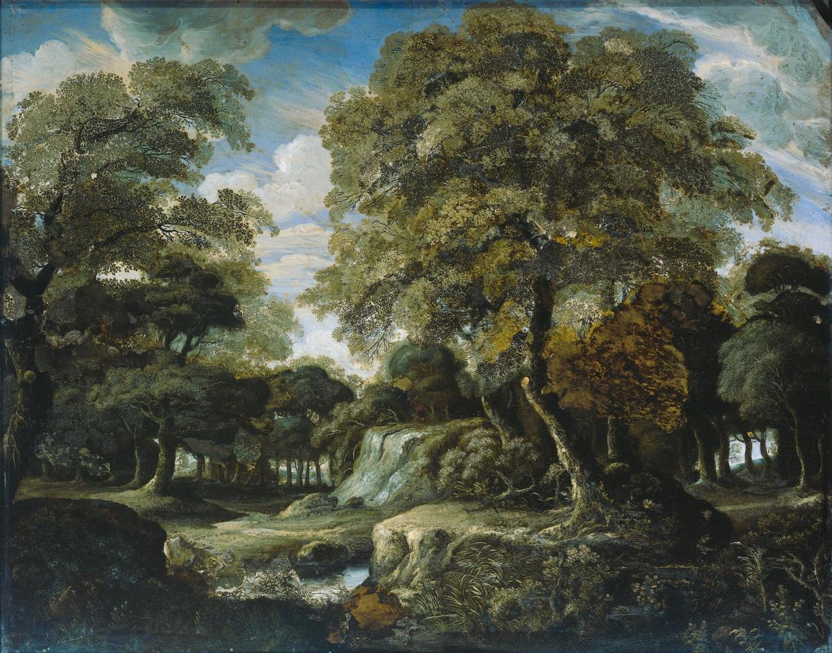 View in the woods (1660-1680) by Jan van der Heyden Medium Verre glomis Dimensions 34 x 42.5 cm (13.4 x 16.7 in)