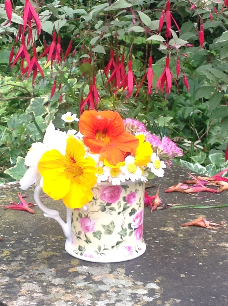 My sister's porcelain mug with the last of her summer flowers.