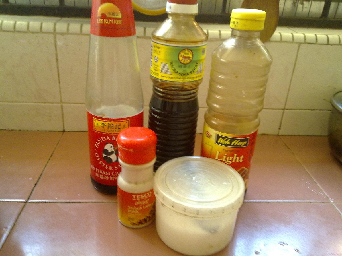 oyster sauce, black soy sauce, light soy sauce, pepper and salt