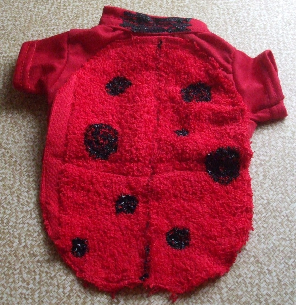 The finished kitten ladybug costume.