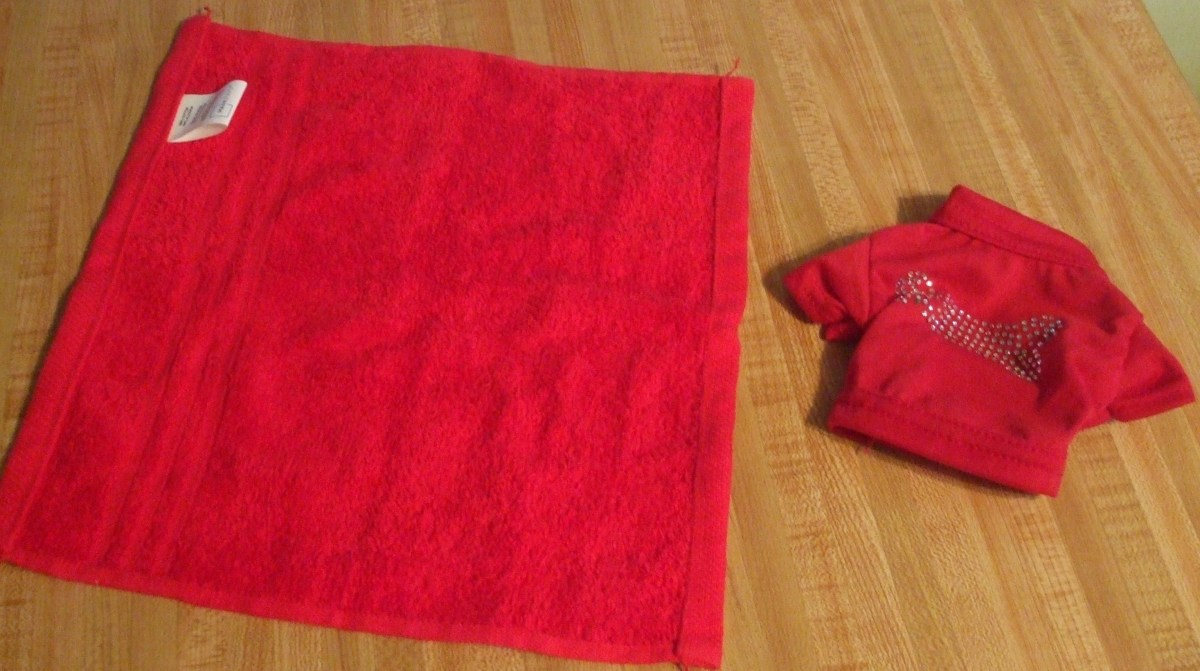 Red fabric (a washcloth) and a red pet shirt.