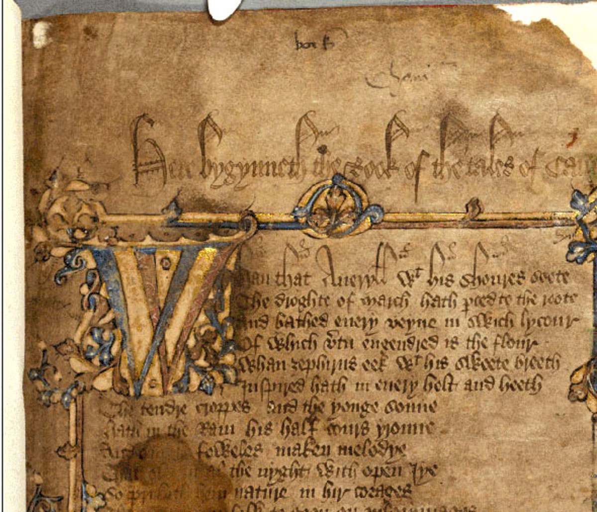 Original manuscript of the General Prologue of The Canterbury Tales by Geoffrey Chaucer.