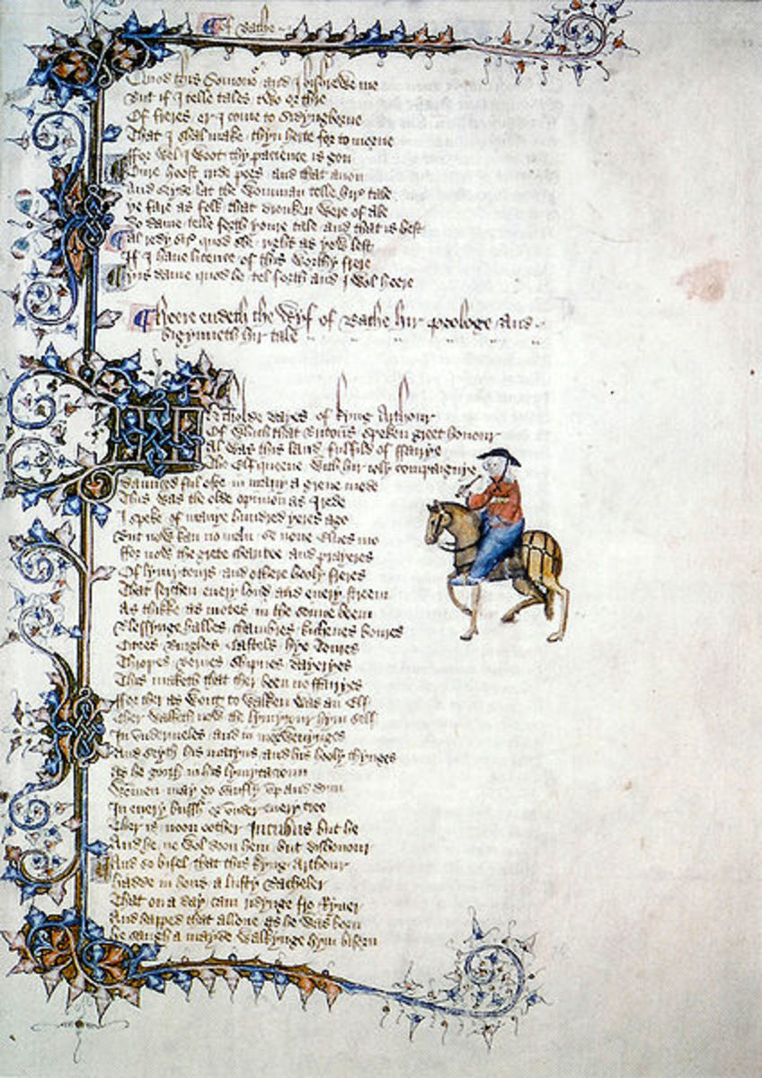 The original manuscript of the Wife of Bath's tale in The Canterbury Tales.