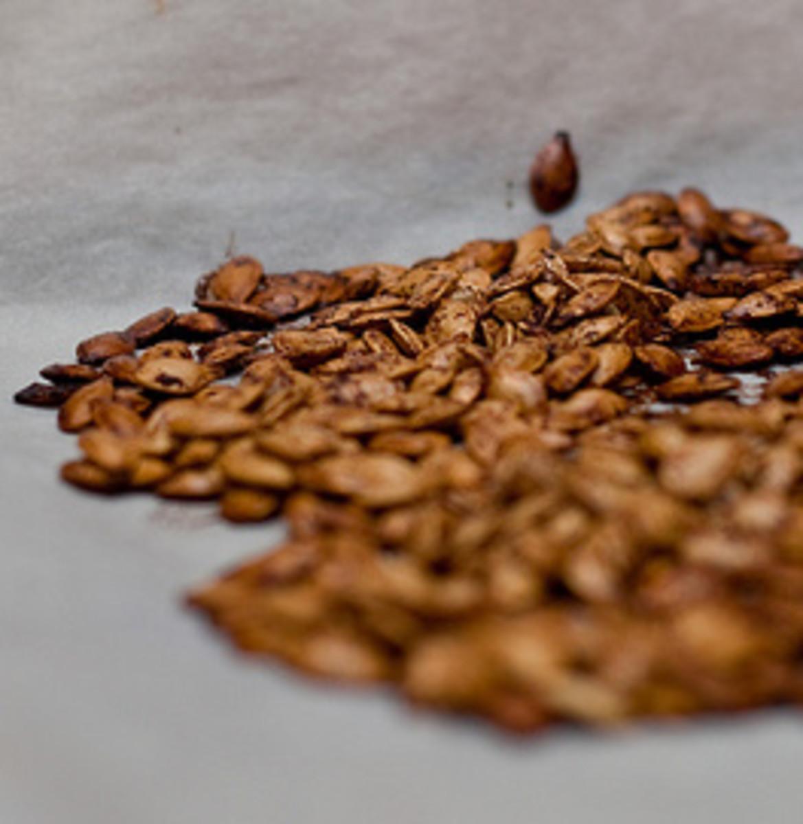 Roasted pumpkin seeds with cinnamon and brown sugar.