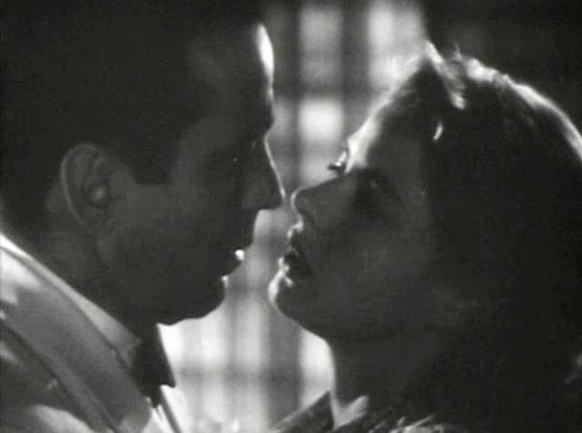 Here legendary leading man, Humphrey Bogart, is with Ingrid Bergman in a romantic scene from the motion picture Casablanca.