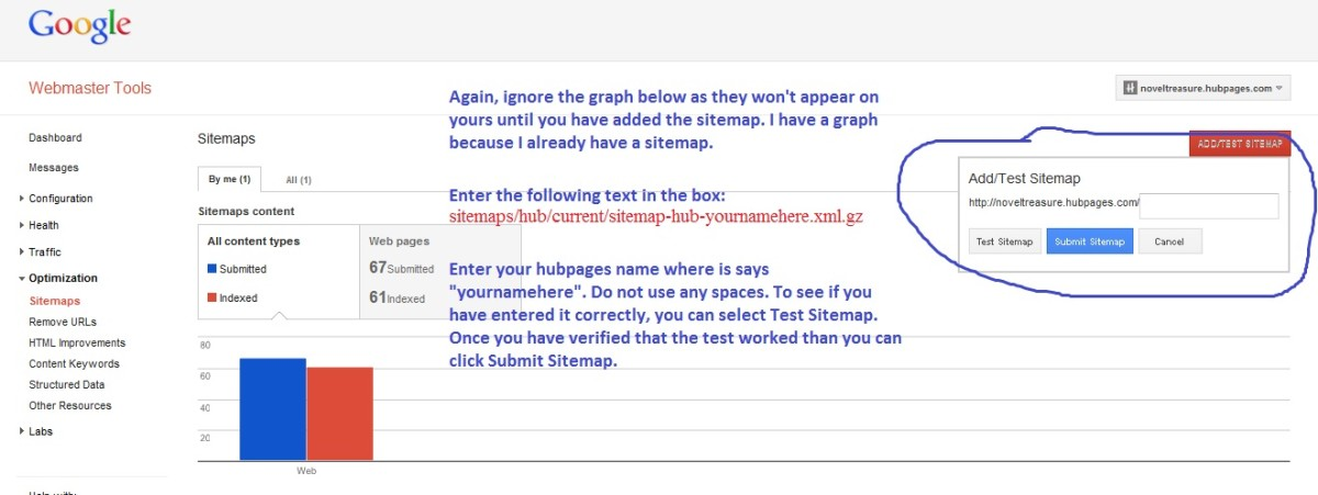 Enter the sitemap text and click Test Sitemap.
