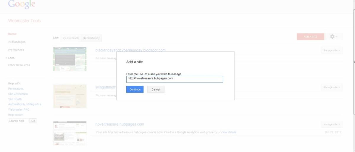 Enter url for hubpages domain