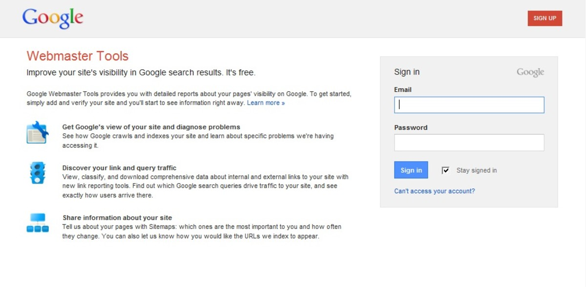 Signup page for Google Webmaster Tools