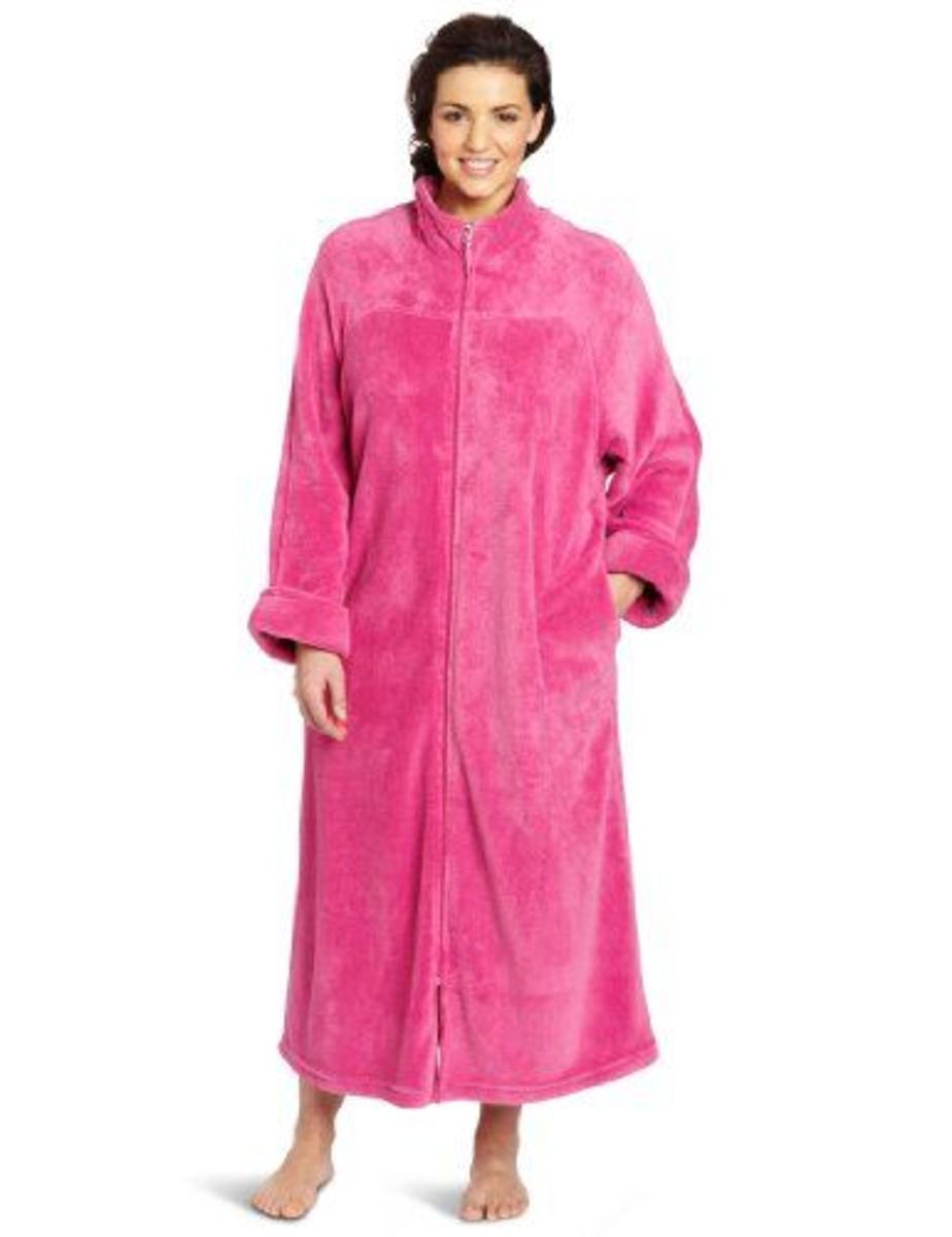 Plus size robe. Choose from purple, blue or pink (as shown).