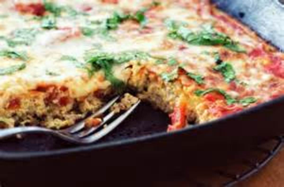 Fritta baked in an oblong pan.