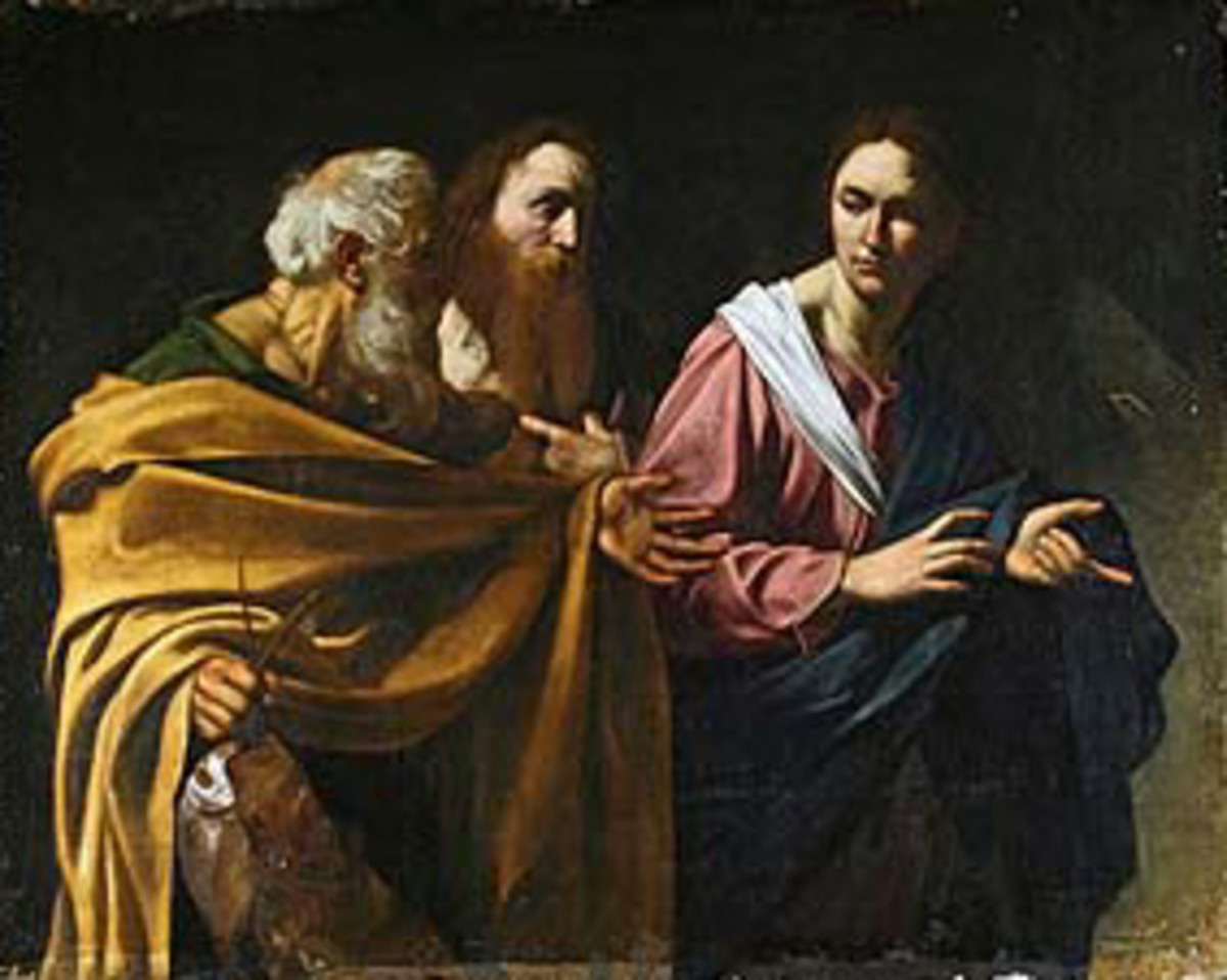 The Calling of Saints Andrew and Peter by Caravaggio. The two older people in the painting are the artist's depiction of Peter and Andrew. Peter is the older one with the grey hair and Andrew is the other bearded man.