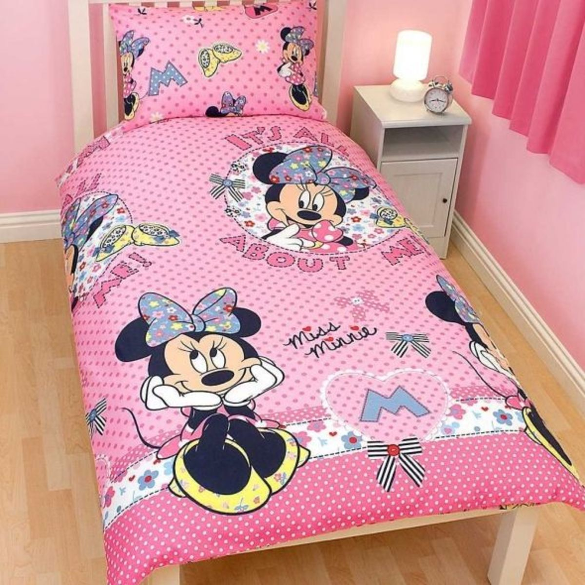 Girls Minnie Mouse Quilt/Duvet Cover Bedding Set