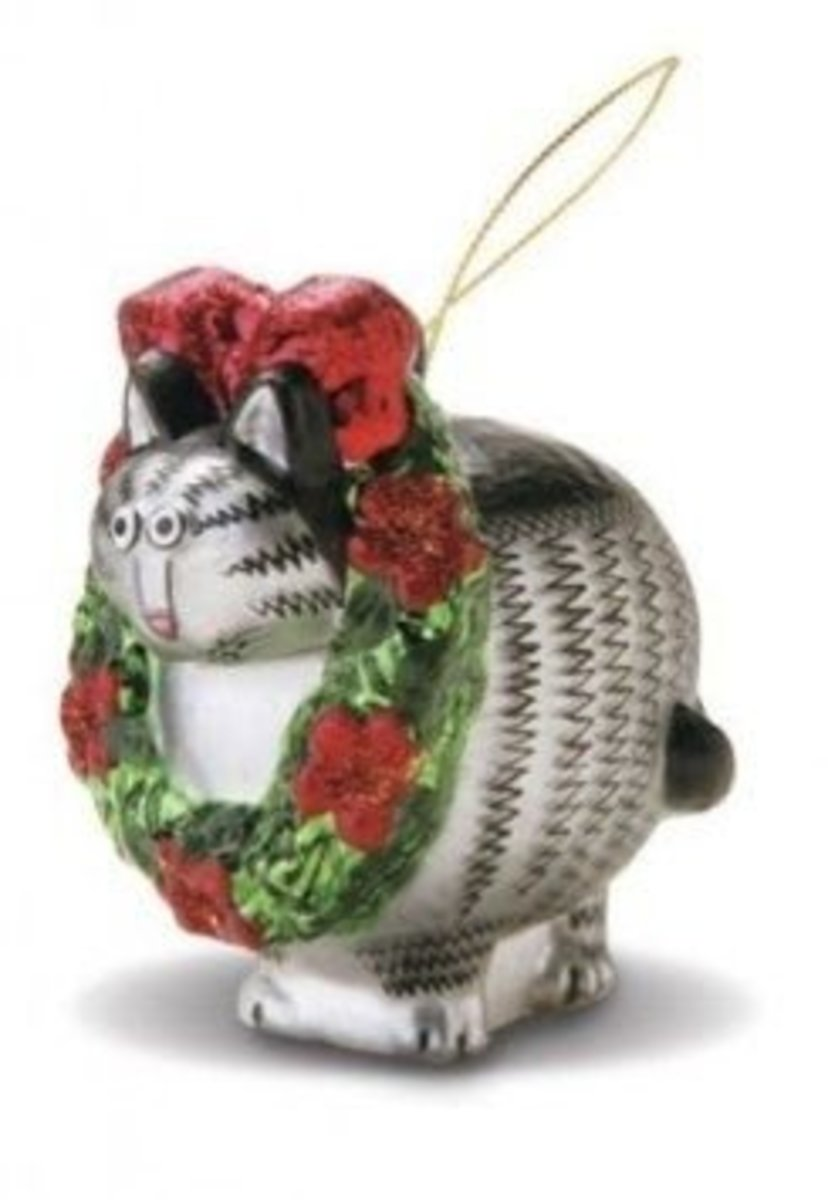This Kliban Cat Ornament Brings A Bit Of Hawaii With Him - Perfect For Decorating Your Christmas Tree With A Hawaiin Flair.  Image Credit:  Amazon