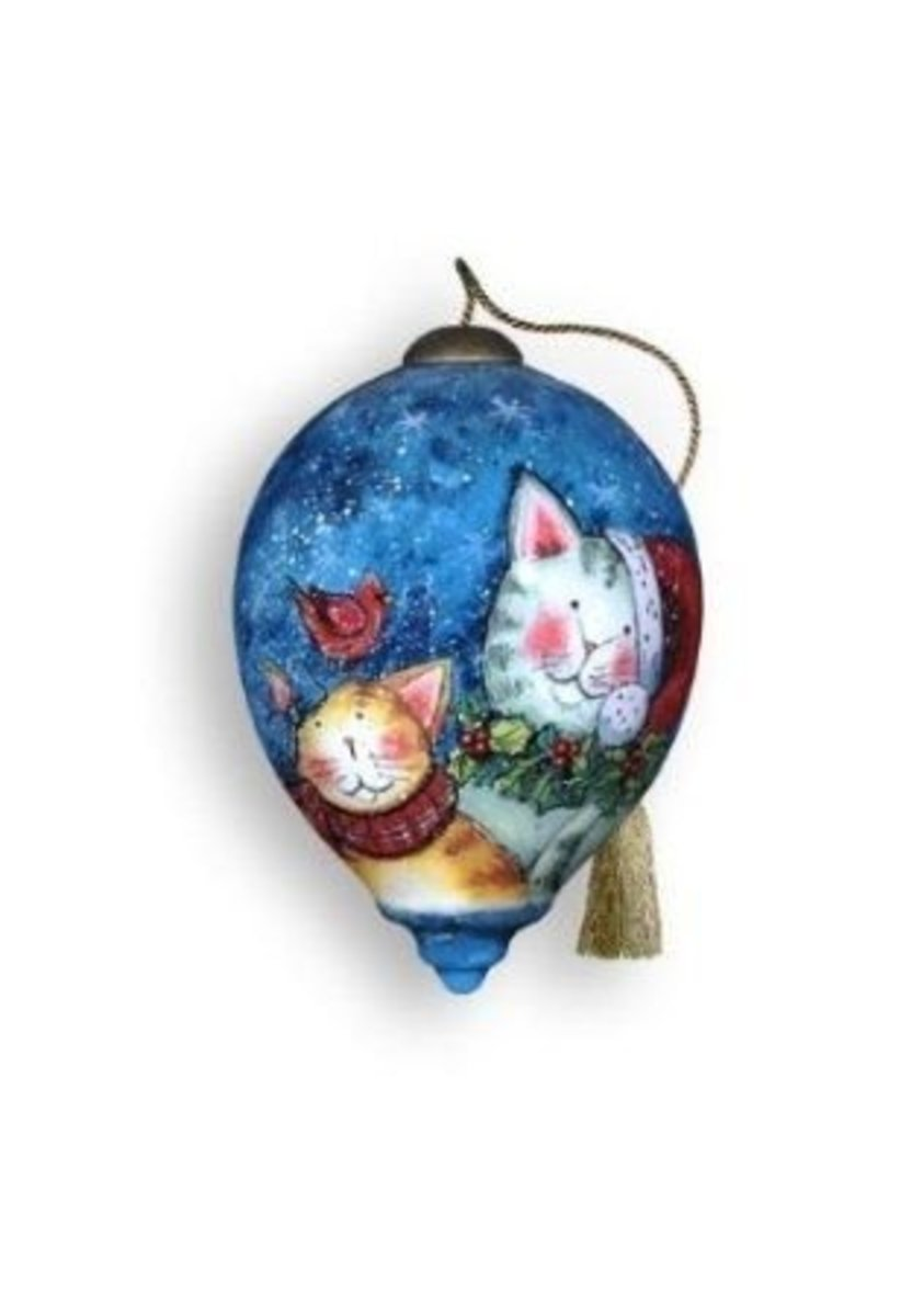 Here's A Cat Ornament Made From Glass By Ne'Qwa Art.  It's Colorful And Festive, Purrfect To Hang As A Decoration For Your Christmas Tree  And Lovely Enough To Give To A Cat Lover.  Image Credit: Amazon