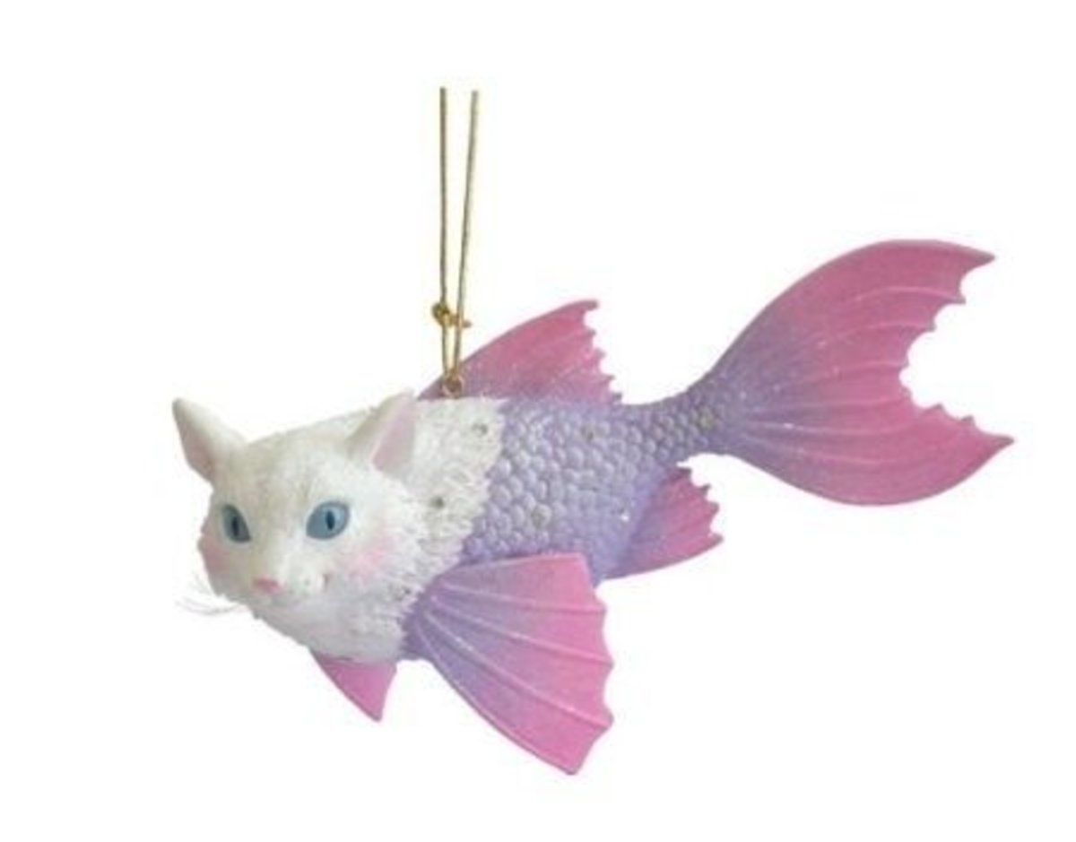 Cat, Catfish, Christmas Ornament From December Diamonds.  They Are The Folks That Make Those Beautiful Mermaid Ornaments And Now They've Designed This Very Funny, Great Looking Cat - Catfish Ornament.  Image Credit:  Amazon