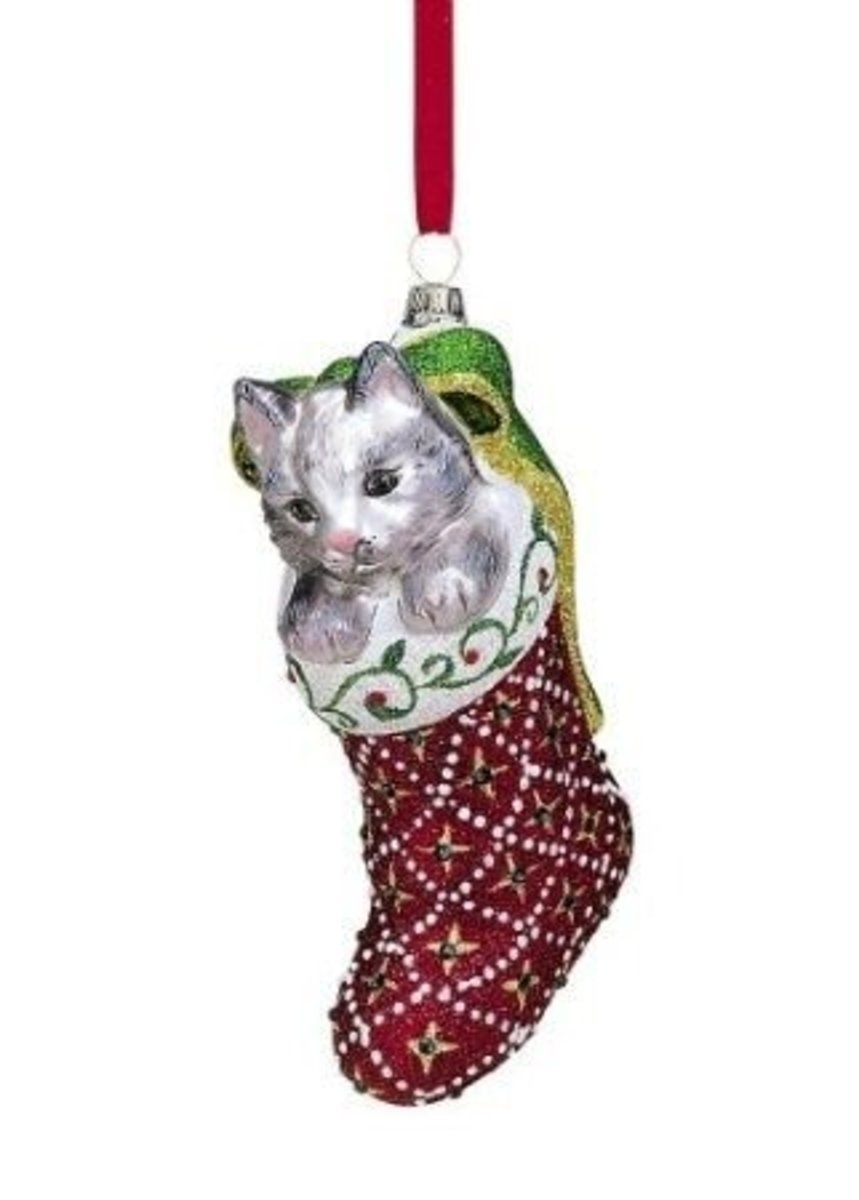 Reed & Barton Have Released This Cat In A Stocking Ornament, Hand Blown And Painted, It's A Bit Different From The Silver Ornaments They Are Better Known For.  Image Credit: Amazon