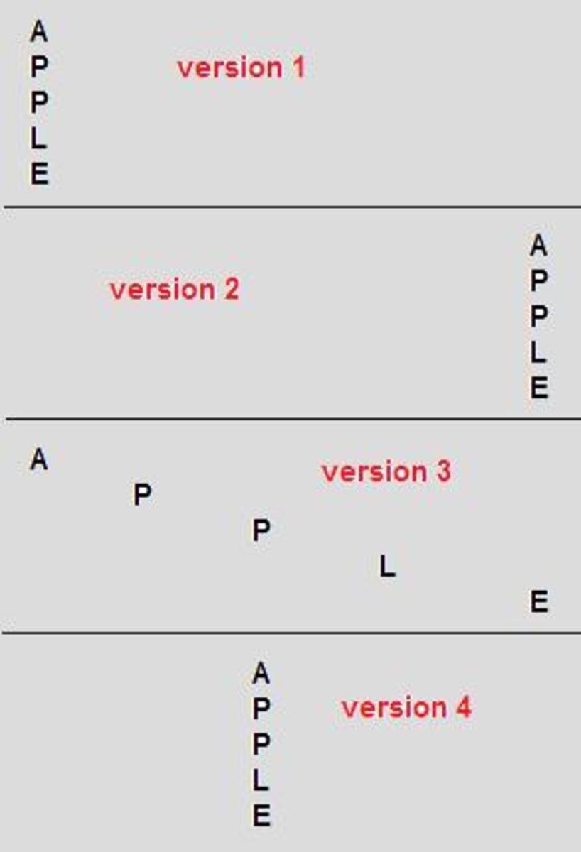 Variations of a simple Acrostic Poem