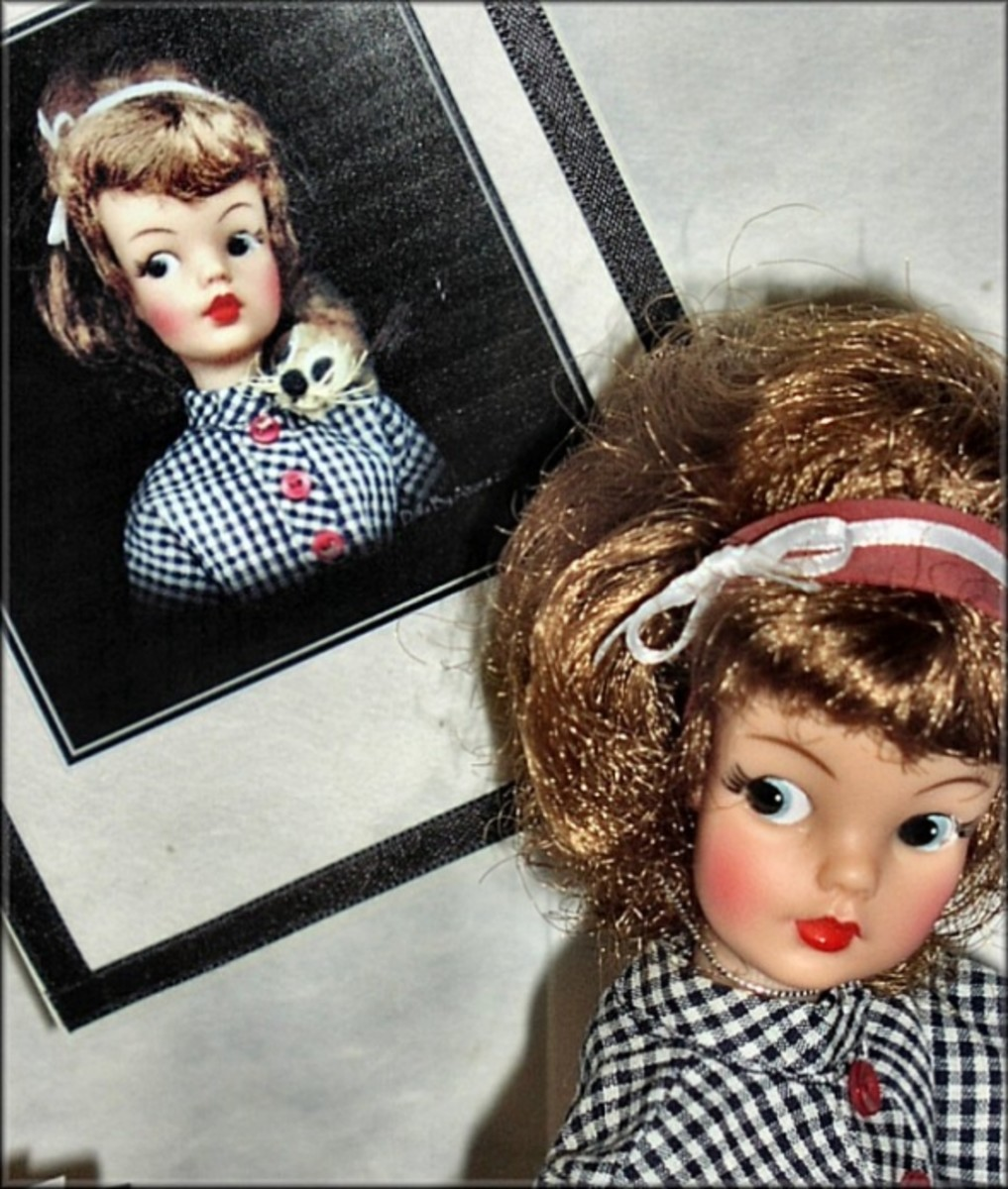 Tammy's hair was restyled  again as shown above for her auction photo session.  The coordinated rubber headband and ribbon secures her hair style as she travels to her new home. This doll's makeup is all original.  There was no need for touch-ups.