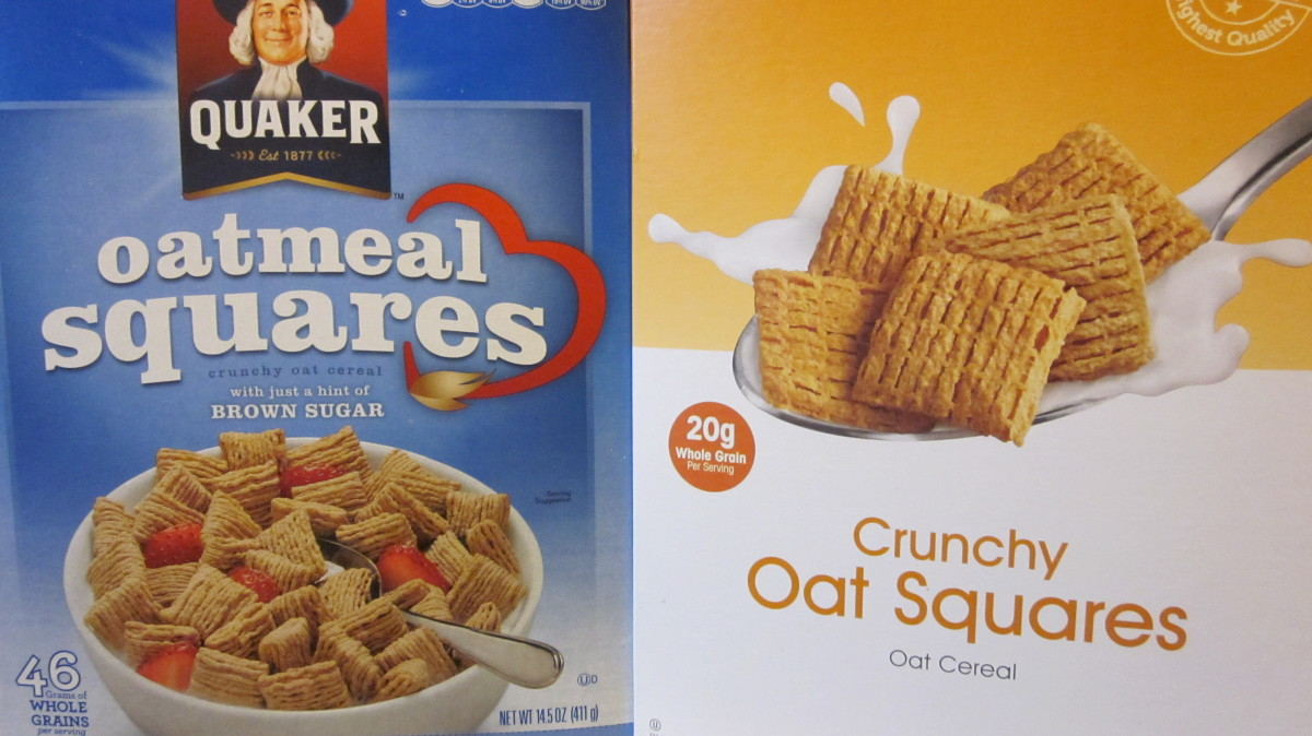 Quaker Oatmeal Squares retails at $4.50 compared to a lesser quality Shoppers Food Warehouse store brand at $2.50.