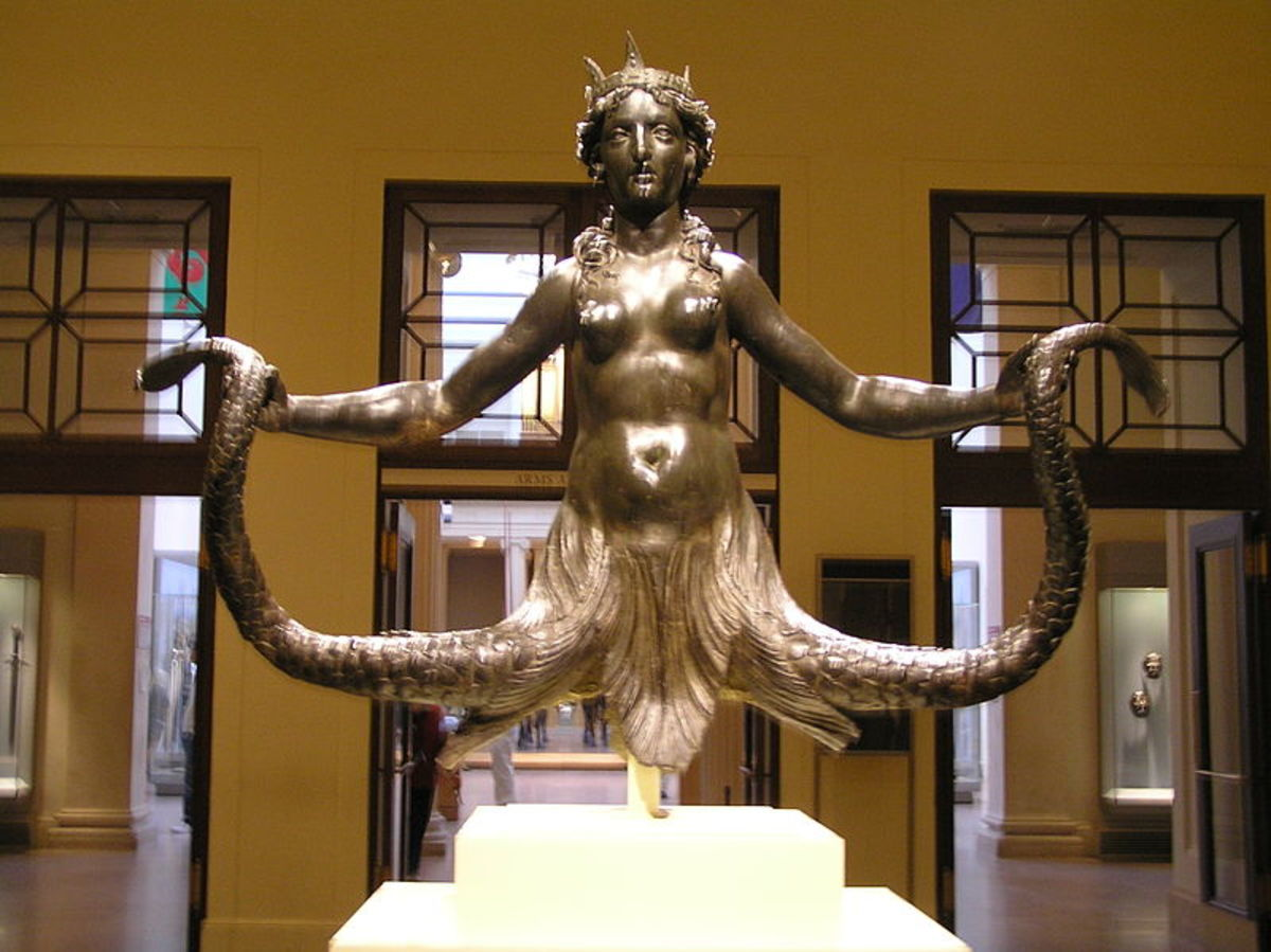 16th century bronze of Mixoparthenos the siren.