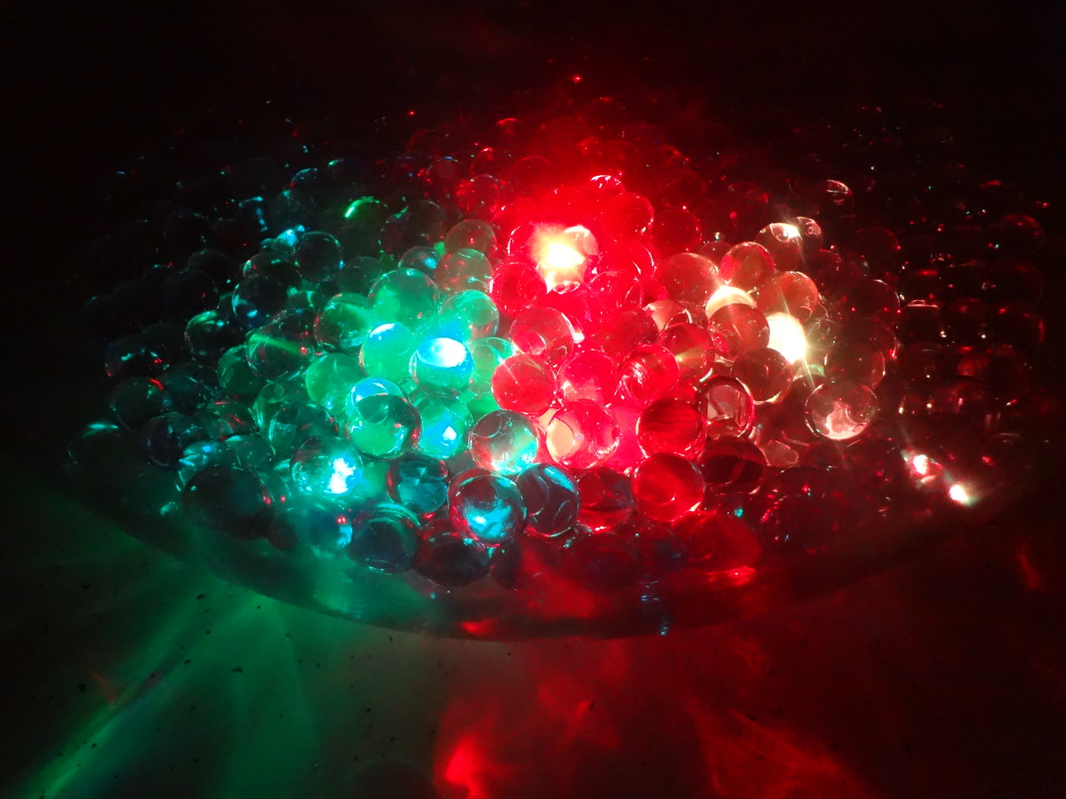 LED lights in water beads