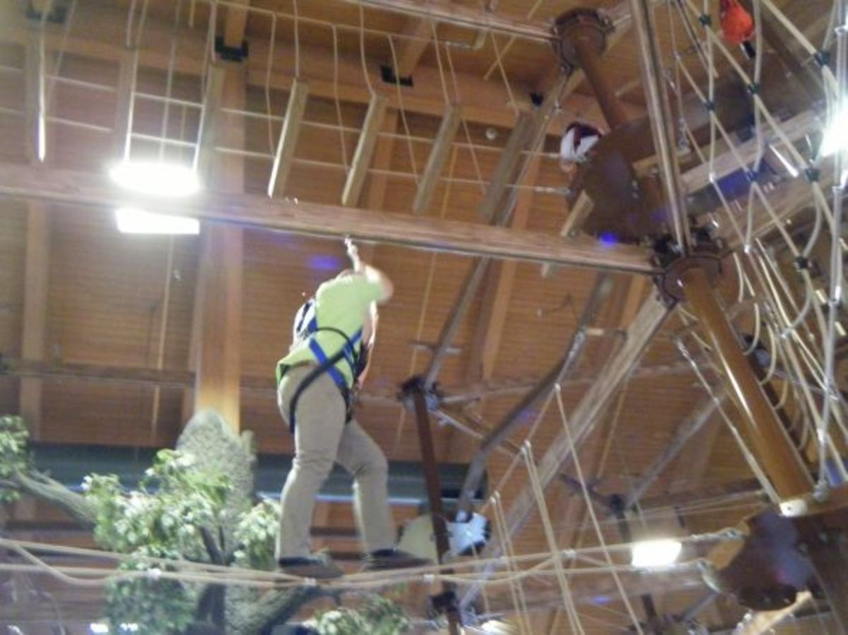 There's always 2 employees up in the ropes course to help you if you get stuck.