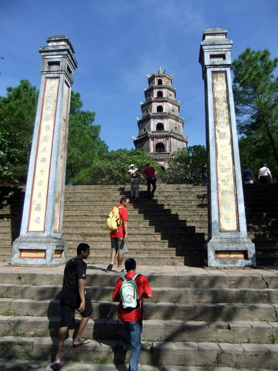 Entrance steps to Thien Mu pagoda in Hue. Be prepared for a lot of climbing and walking