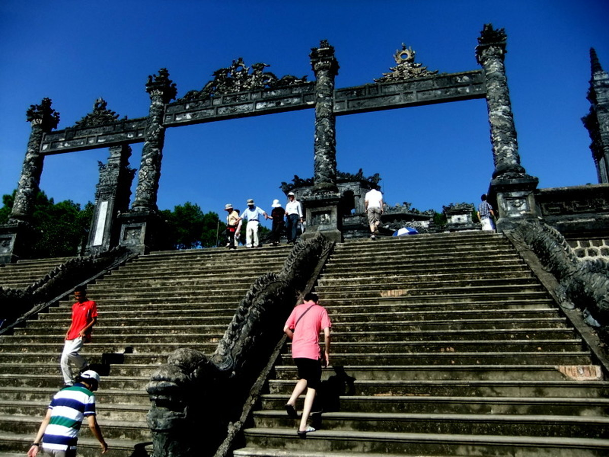 Entrance steps at Khai Dinh Tomb in Hue. There's a lot of climbing here, too.