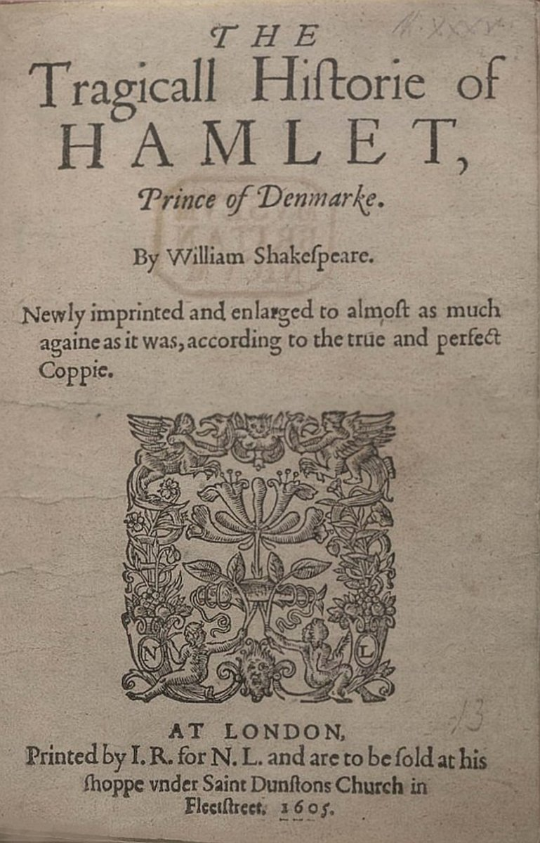 Cover page of Hamlet program, 1605.