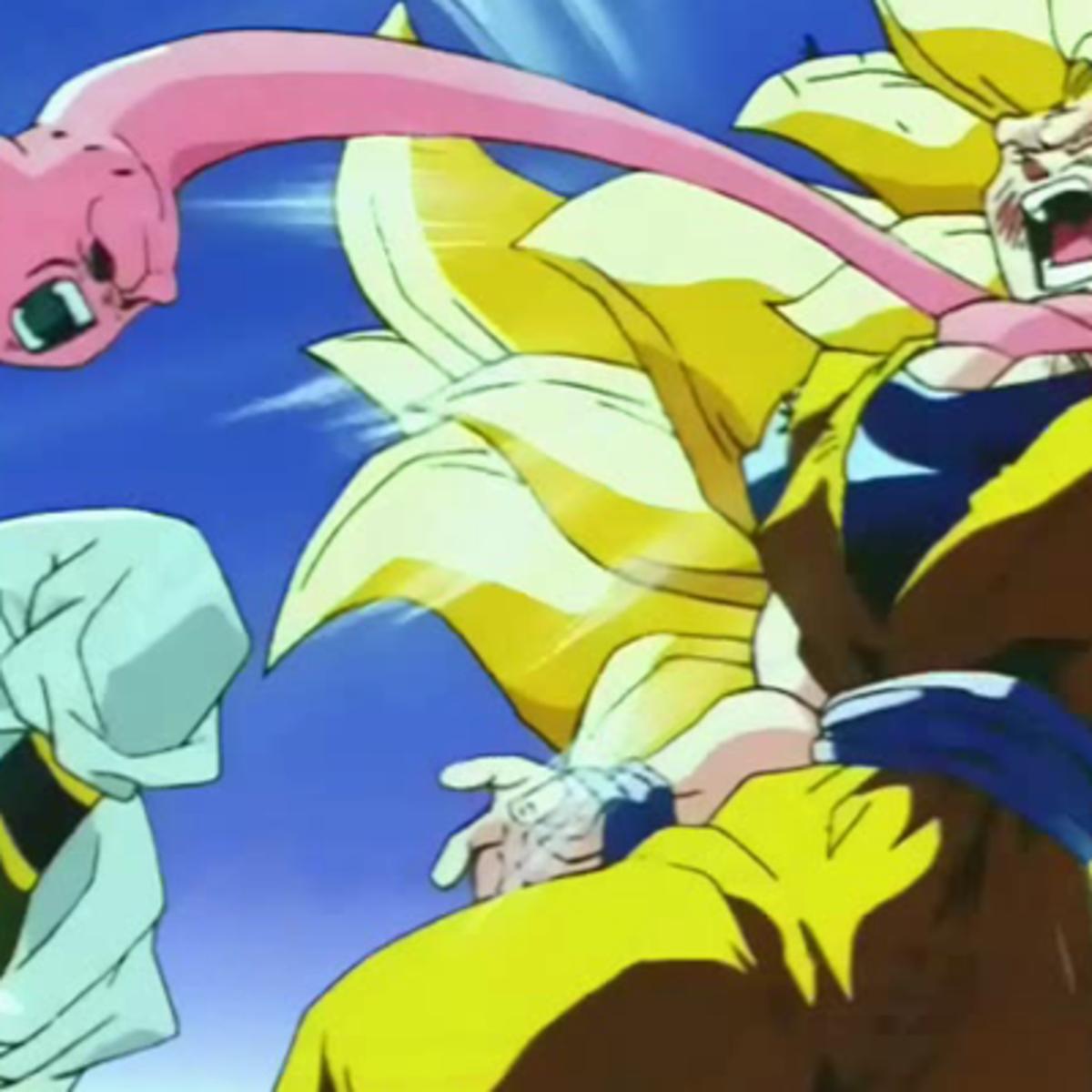 Majin Buu choking Son Goku