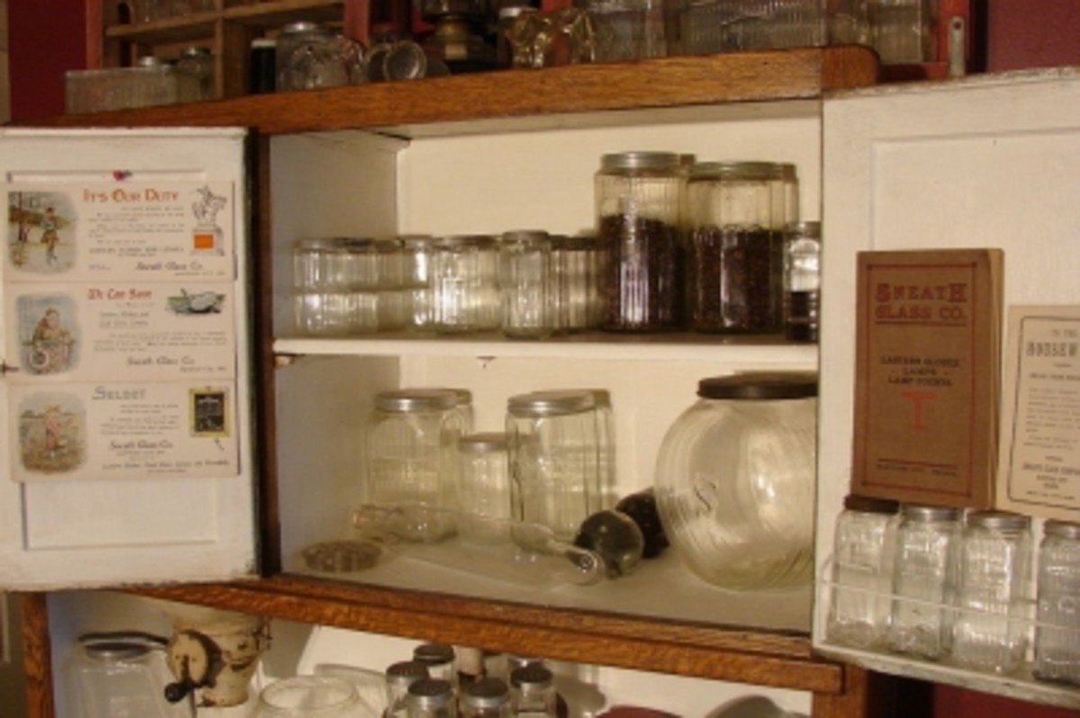 A Collection of Glassware Typically Found In Original Antique Hoosier Cabinets
