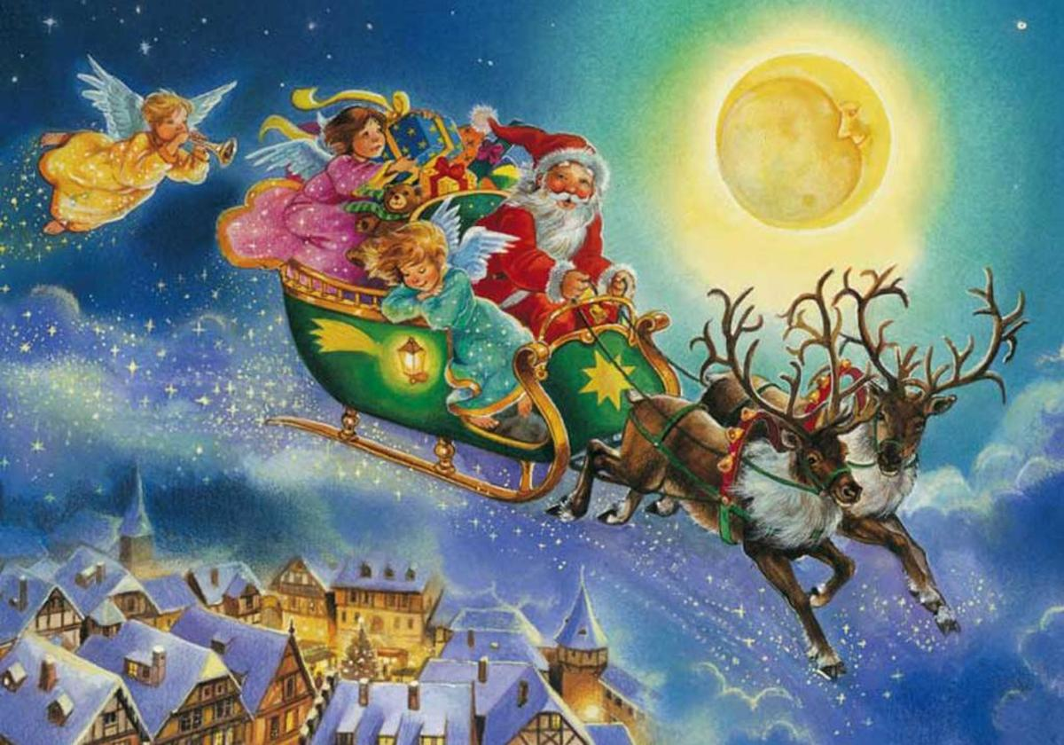 Santa and His Sleigh Christmas Wallpapers