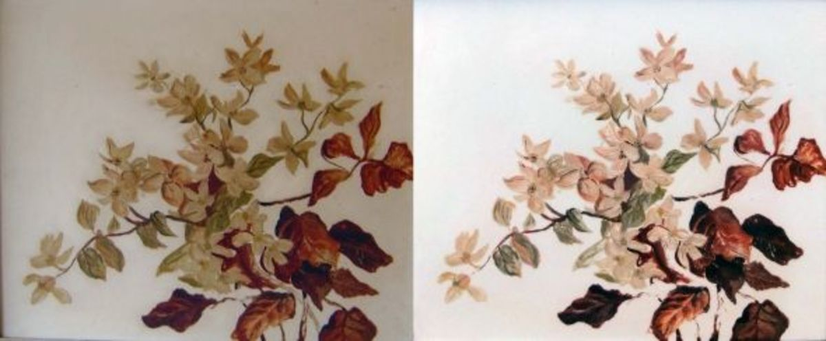 Before and After pictures of restored oil painting