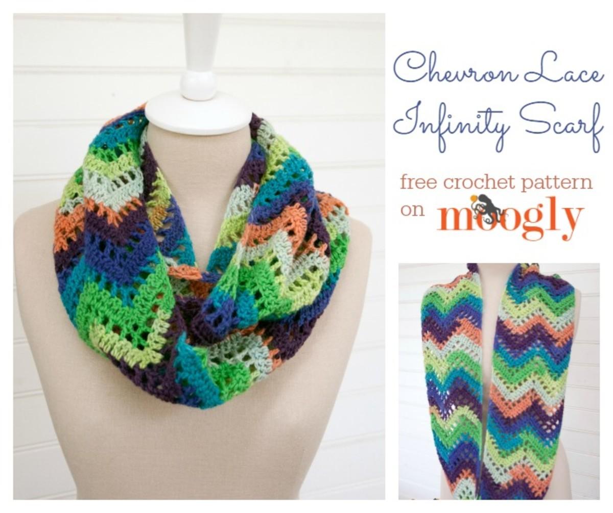 Crochet Chevron Lace Infinity Scarf