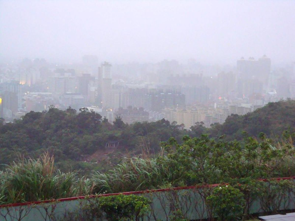 Dense smog in a suburb of Taipei, Taiwan.