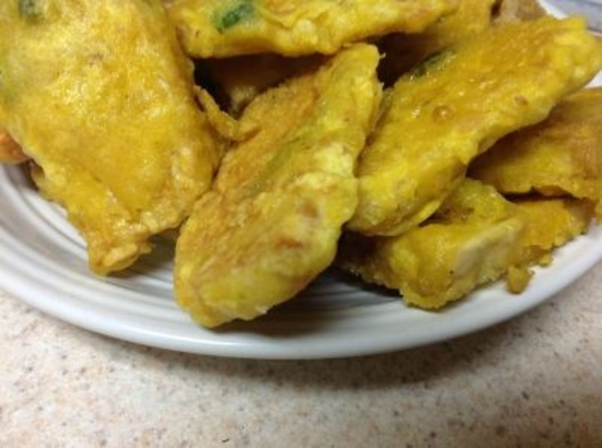 Fried battered tempeh, so yummy