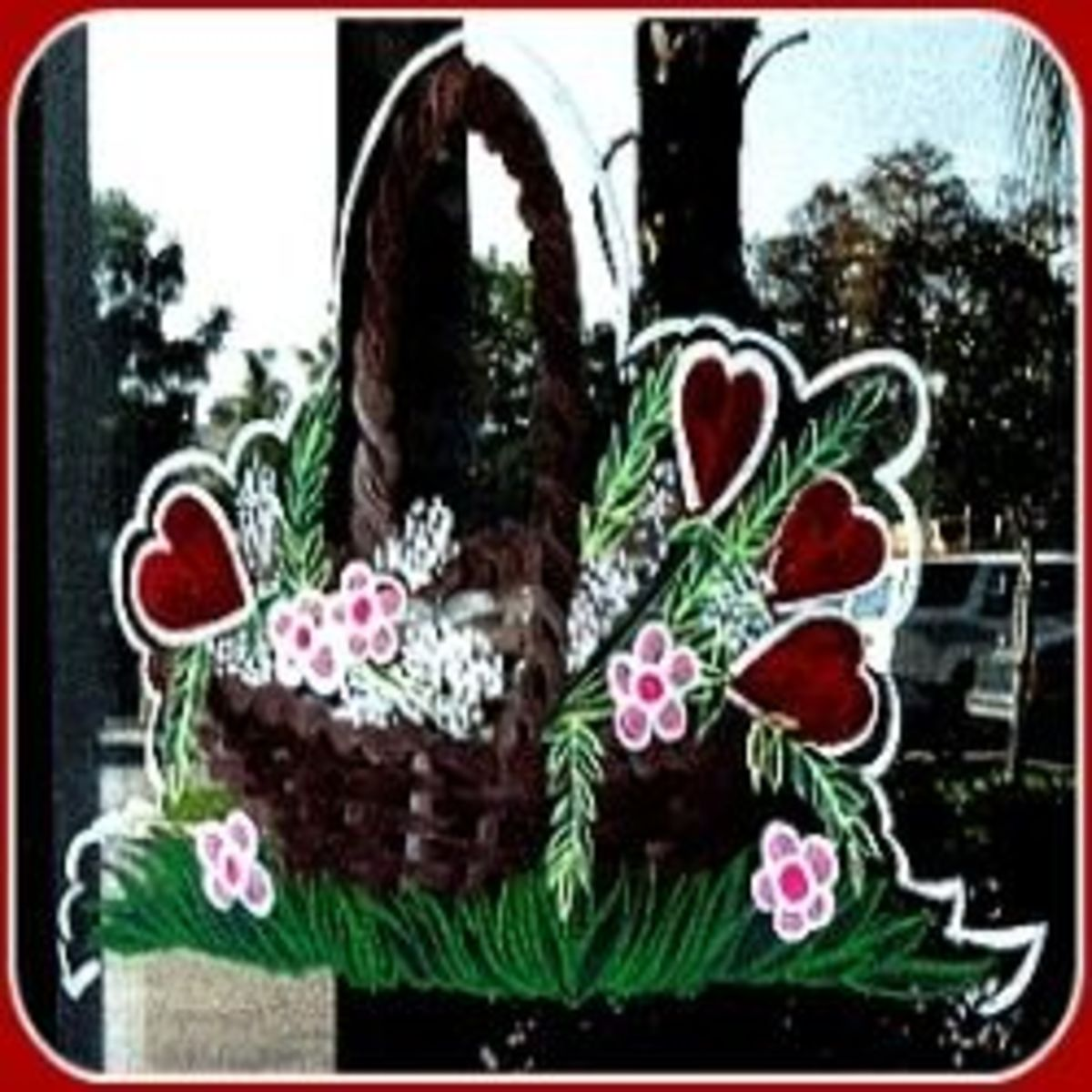 Valentines-Gift-Basket-Window Painting - Image M Burgess