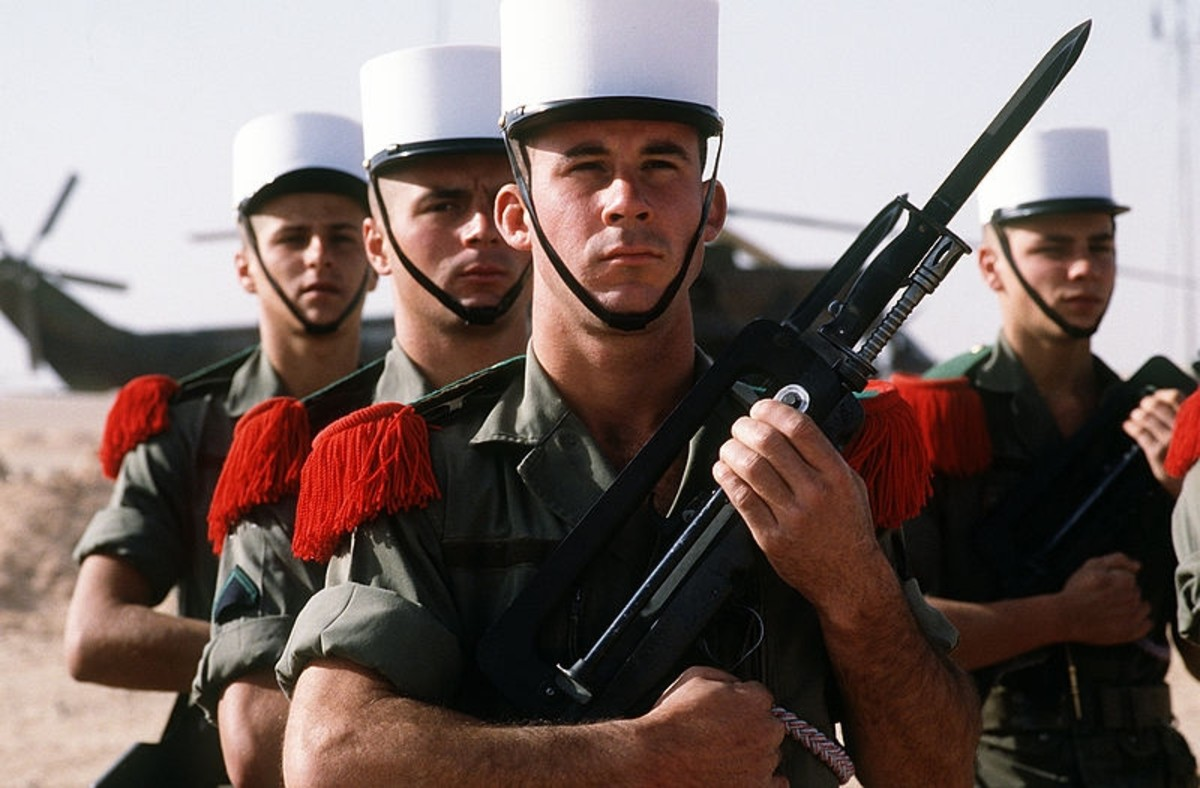 A Legion honour guard in Saudi Arabia, during Operation Desert Shield. circa 1992.