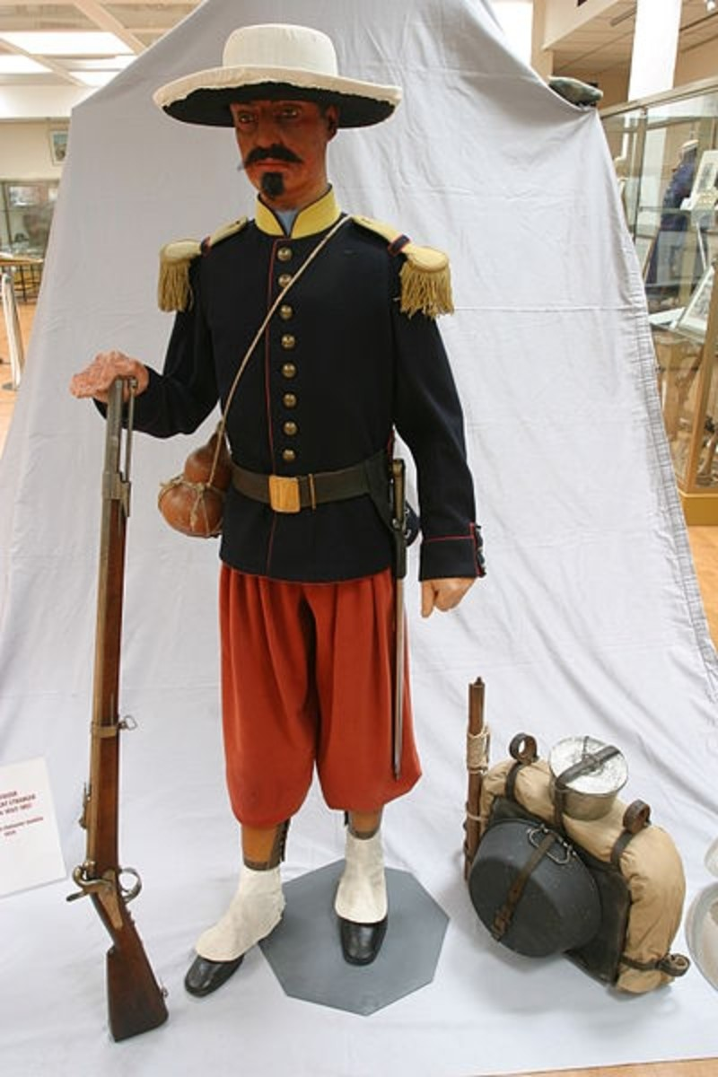 Uniform of a legionnaire during the 1863 Mexican campaign.