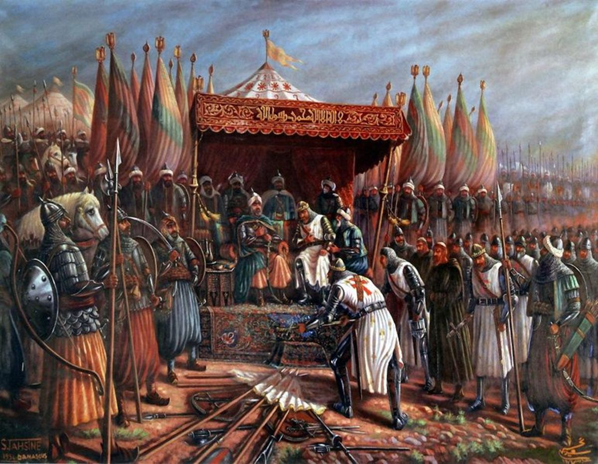 King Guy surrendering to Saladin at the conclusion of the Battle of Hattin.