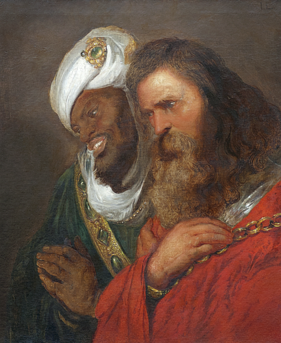 This portrait depicts the Islamic leader Saladin on the left dressed in typical Islamic green and King Guy of Jerusalem dressed in typical Christian red.