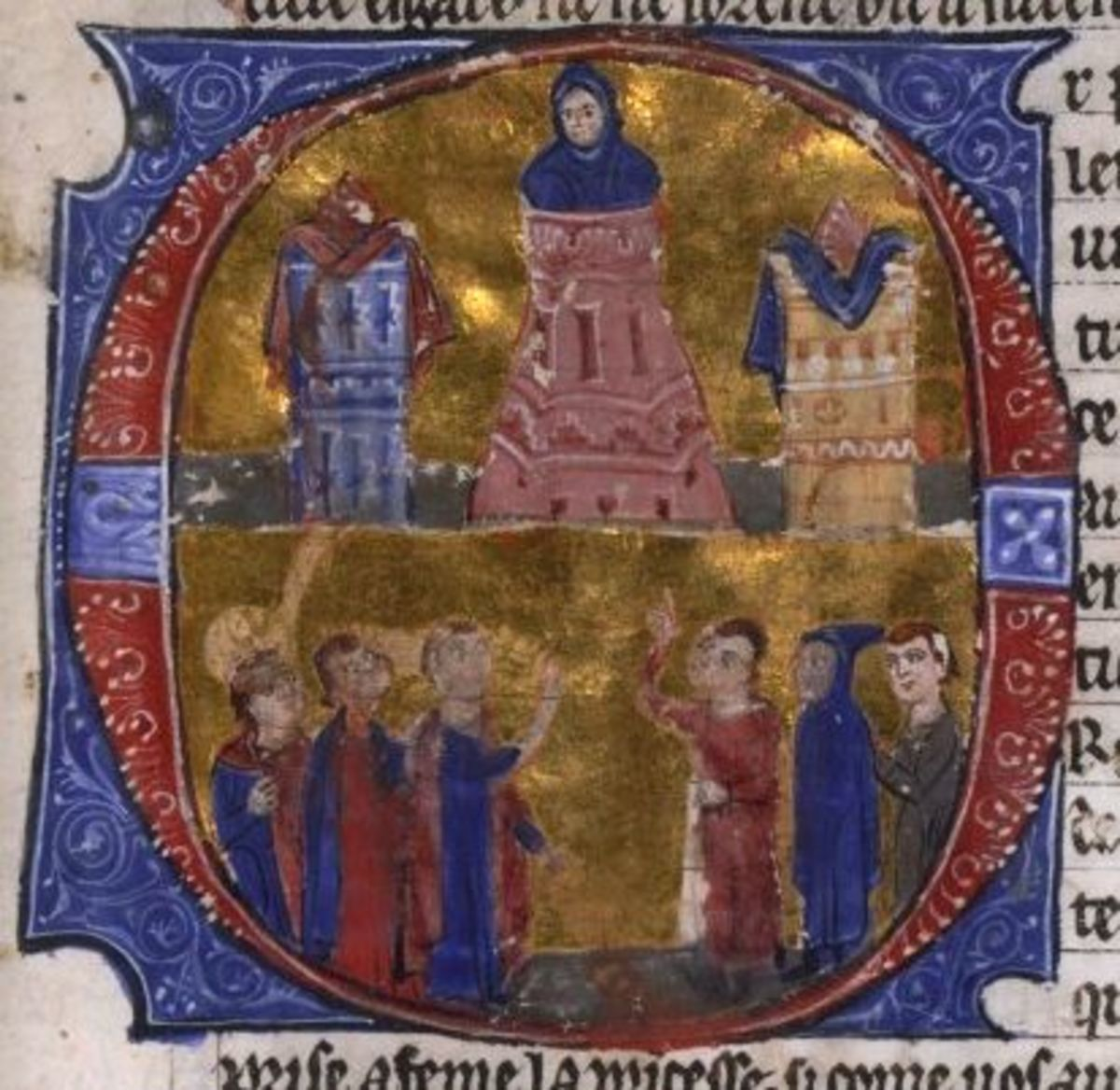 An illustration of Reynald de Chatillon torturing Patriarch Aimery of Antioch dating from the 13th century.
