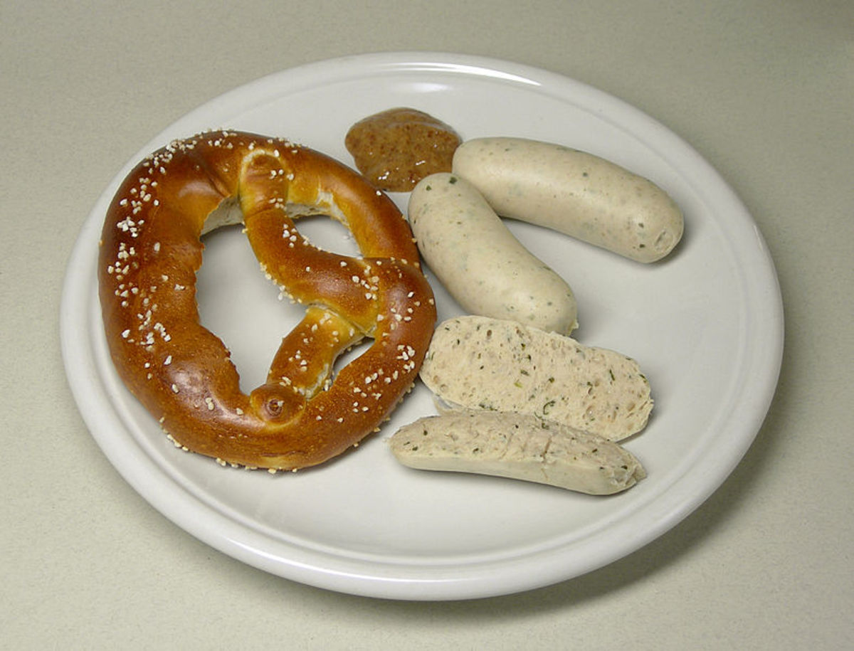 On this plate are Bavarian sausages, which were a favourite food of Hitlers according to those who knew him best.