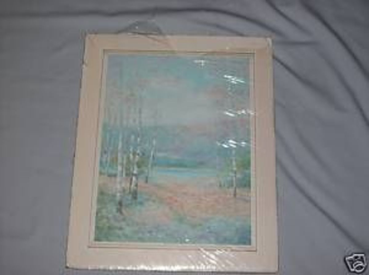 Birch Lake print, birch trees