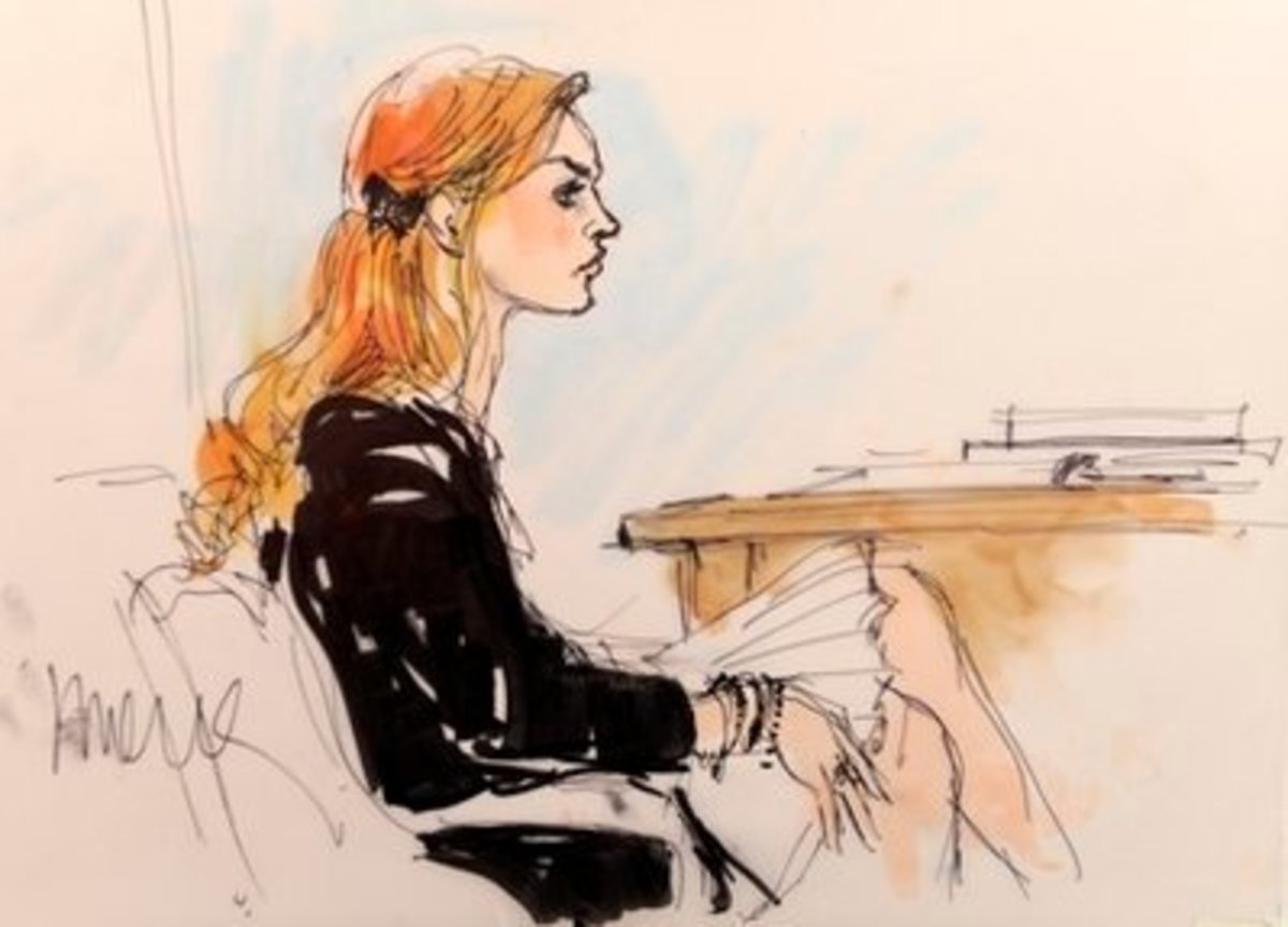 """Courtroom Sketch of Lindsey Lohan."""