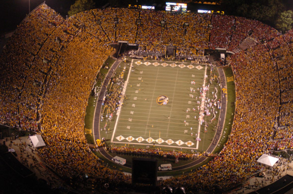 Missouri Tigers play at Faurot Field.