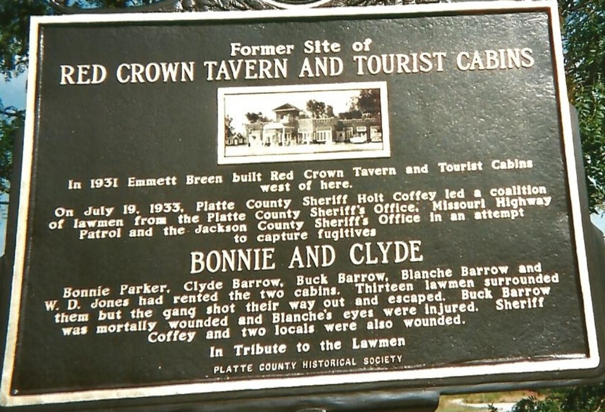 Historic site of the Red Crown Incident, featuring Bonnie and Clyde, is located in Kansas City, Missouri.