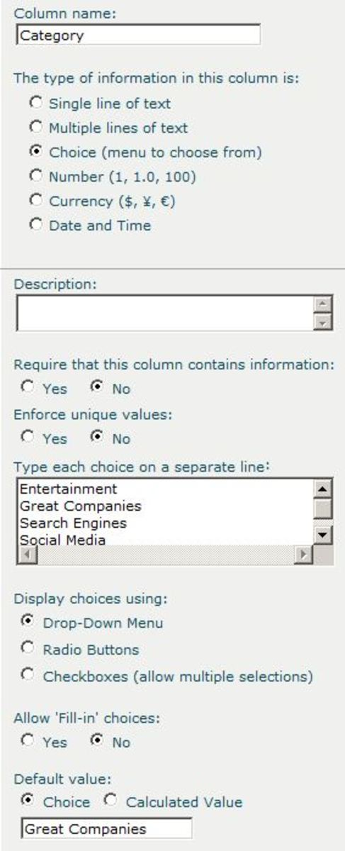 Add a category column to your links list